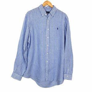 Ralph Lauren Linen Striped Shirt Large Blue White